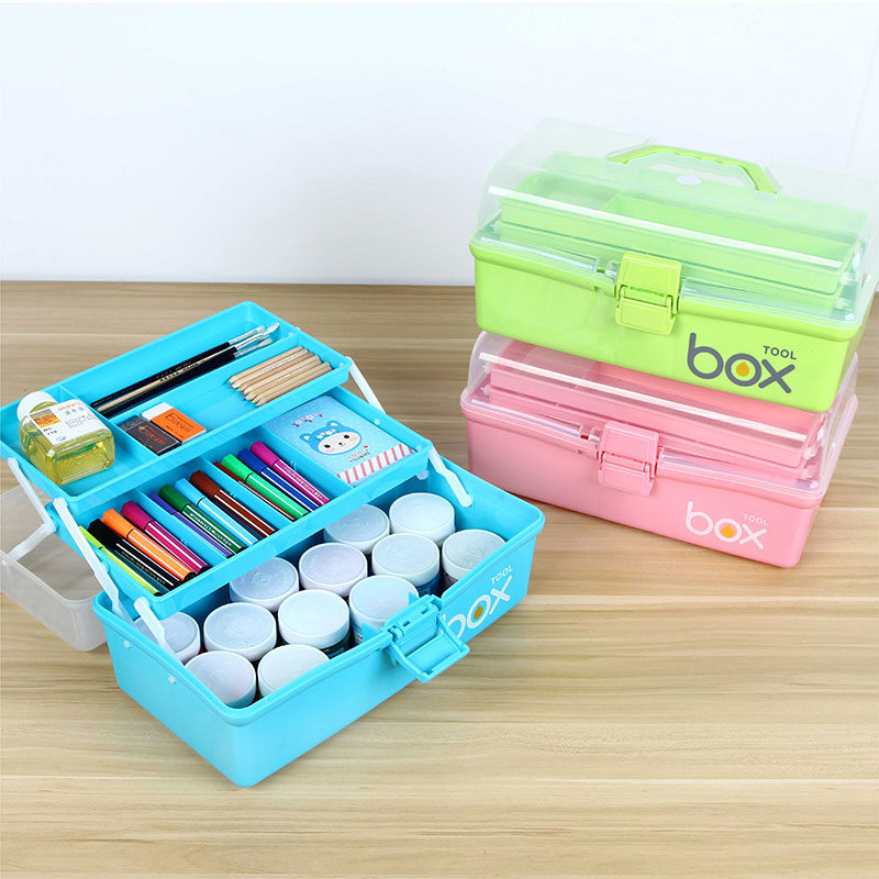 Home Portable Three Layer Tool Box Art Make Up Hand Tools Storage Box Multi Function Toolbox