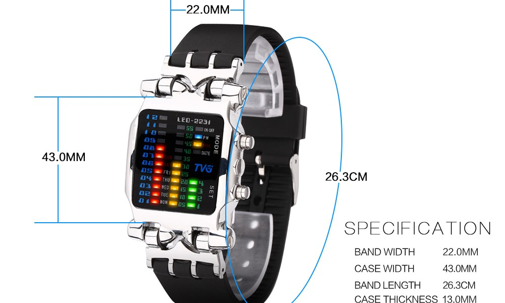Luxury Brand TVG Watches Men Fashion Rubber Strap LED Digital Watch Men Waterproof Sports Military Watches Relogios Masculino 5