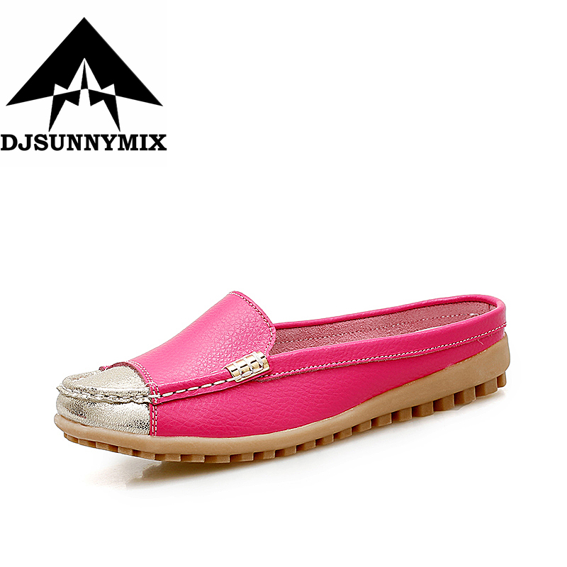 DJSUNNYMIX Brand NEW Women handmade Shoes genuine Leather half-slide non-slip loafers Female Casual  autumn flats shoes new style comfortable casual shoes men genuine leather shoes non slip flats handmade oxfords soft loafers luxury brand moccasins