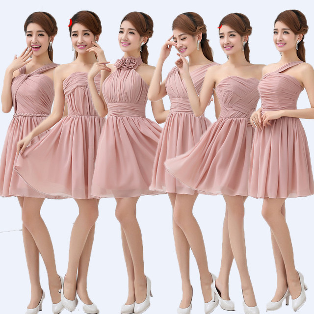 Dusty Pink Bridesmaid Dresses Halter Pleat Cheap Custom made Mix style  Bridesmaid Dresses Prom Party Dress Women Vestidos 2017 17ae71cf49aa