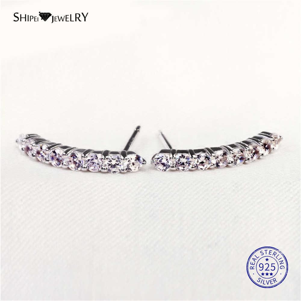 Shipei תכשיטים 100% 925 סטרלינג כסף לבן ספיר פייב קו Stud עגילים לנשים יום הולדת מתנת יום נישואים