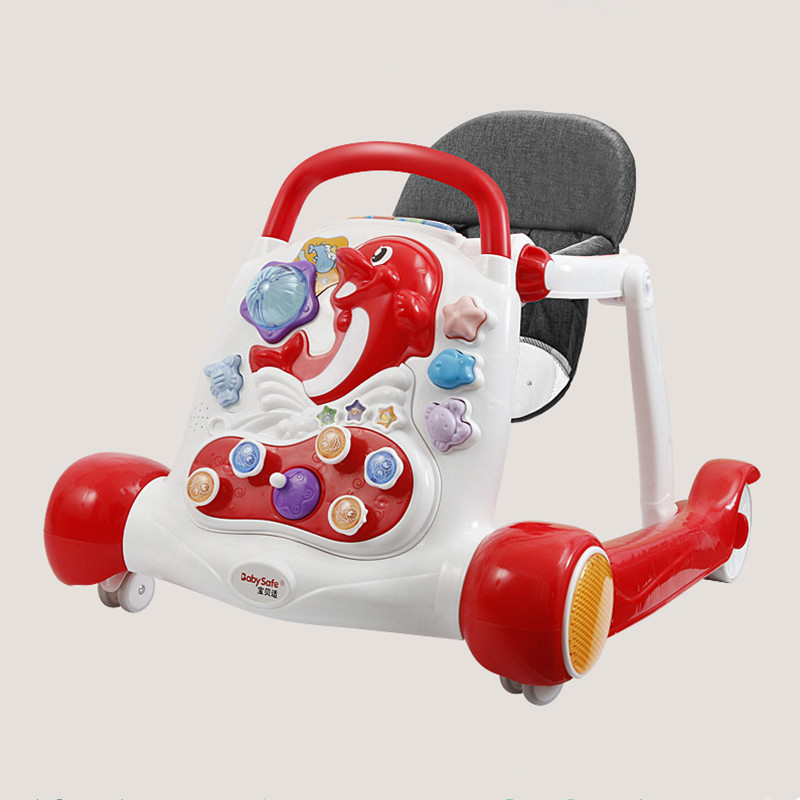 Luxury baby walker anti-rollover multi-function with music baby 6/7-18 months hand push can sit children's walkers