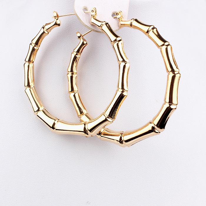 Aliexpress 2017 Trendy Bamboo Hoop Earrings Women Female Gold Silver Color Clic Jewelry From Reliable Link Suppliers On Sohot