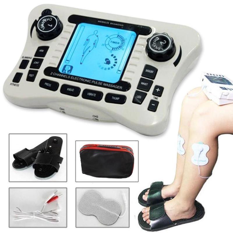 Dual channel Macchina di Massaggio Sollievo Dal Dolore del Nervo Muscolare Decine Elettro Stimolatore Terapia per il Corpo Massaggiatore Apparecchiatura Per Fisioterapia C4