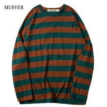 ФОТО musver striped pullover long t-shirts men's 2018 fashion o neck hole hip hop casual cotton tops tee streetwear men t shirts