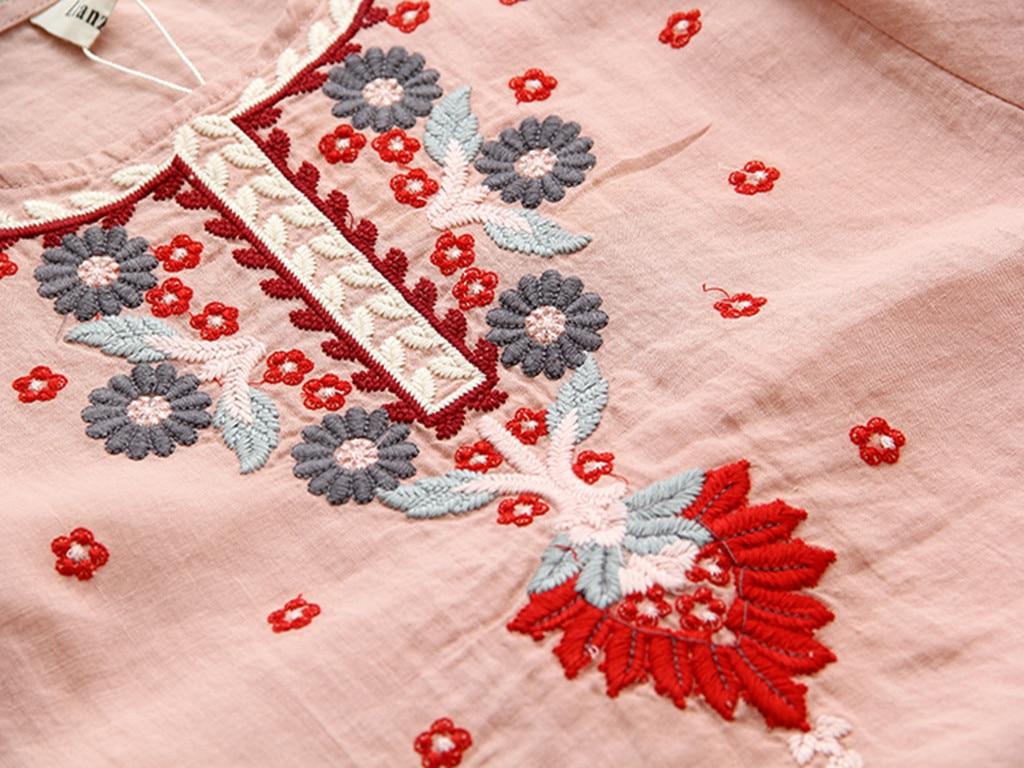 blanco rojo Étnicas Manga Suelta Para Marino Florales Vintage Blusas azul Blancas Verde Casual Mujeres Lino Bordadas rosado Linterna Camisa Algodón Media Top De nHIxvRgqp