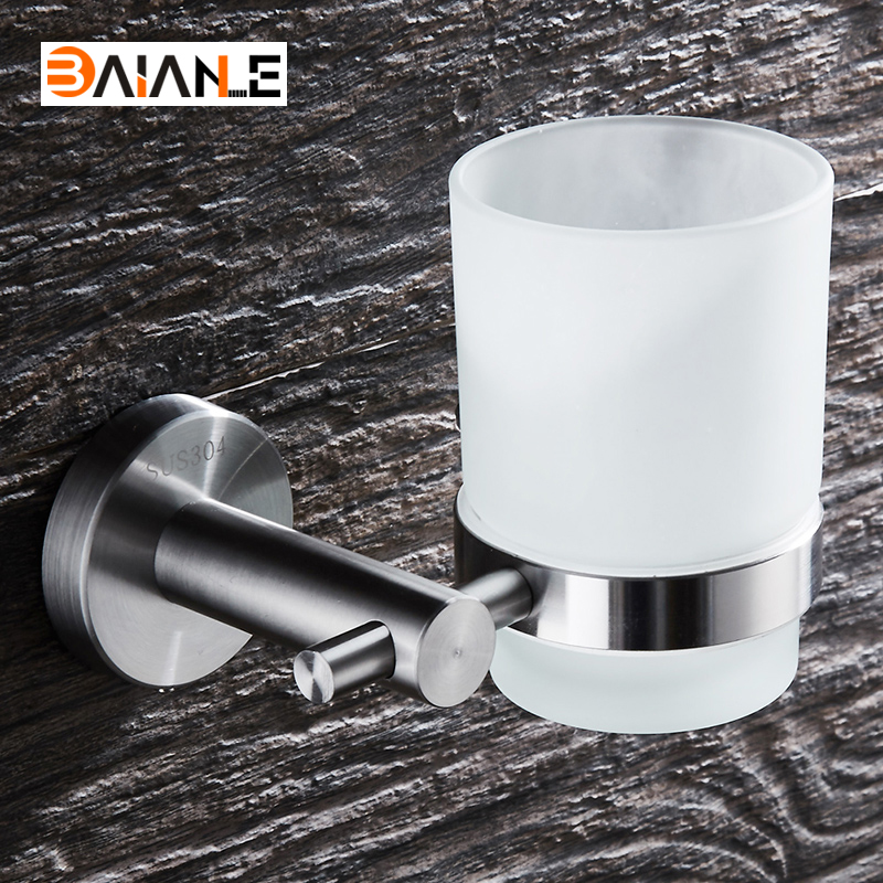 Stainless Steel Brushed Cup Holder glass cups Bathroom Accessories Single Toothbrush Tooth cup holder image