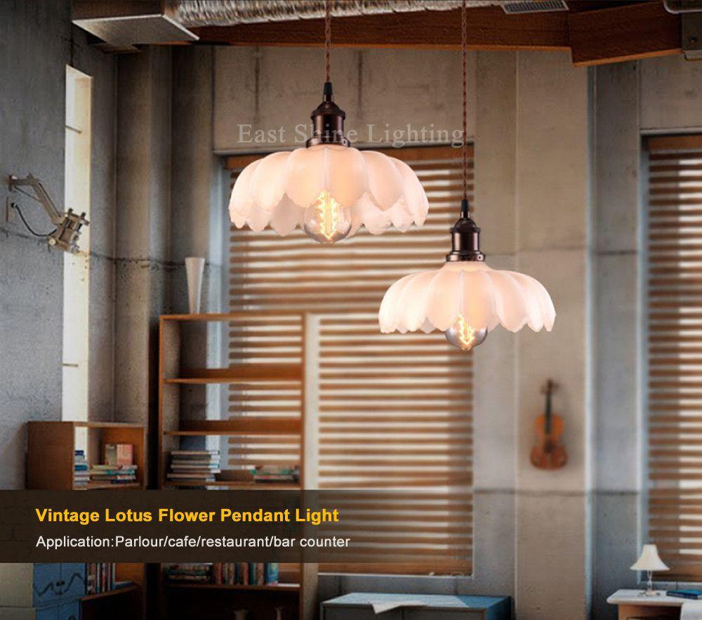 Loft Lotus Flower Vintage Pendant Lights Industrial Pendant Lamps