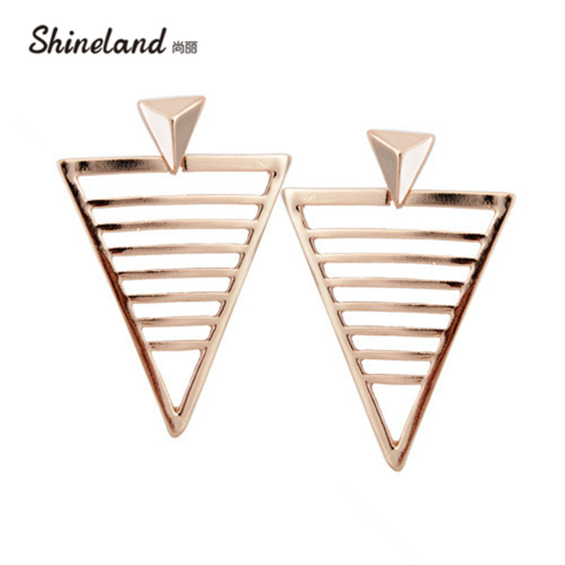 Shineland 2018 New Fashion Statement Earrings Rose Gold Color Hollow Out Triangle Alloy Stud Earrings Luxury Jewelry For Women
