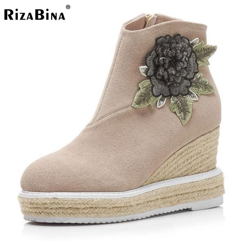 RizaBina Women Real Leather Ankel Boots Women Flower Platform High Wedges Boots Warm Shoes Short Bota Winter Footwear Size 34-39