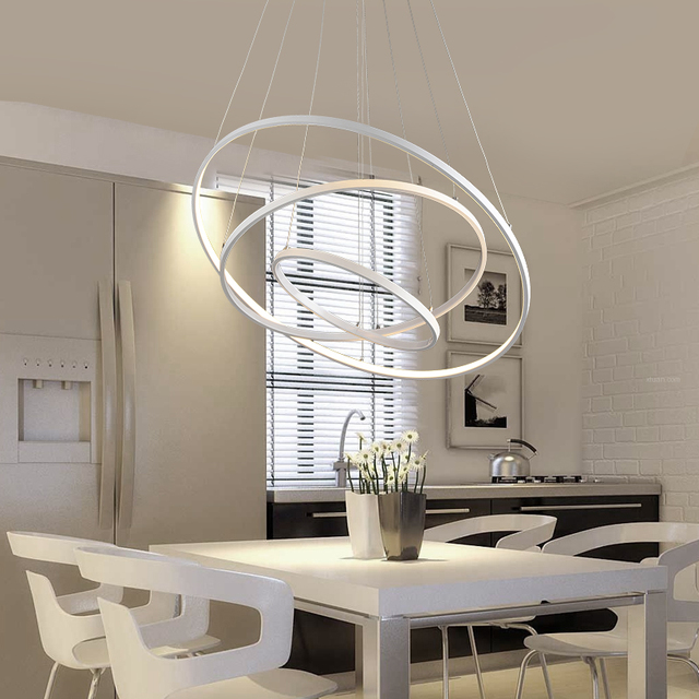 Modern Pendant Lights For Living Room Dining Kitchen Circle Rings Acrylic Body Hanging