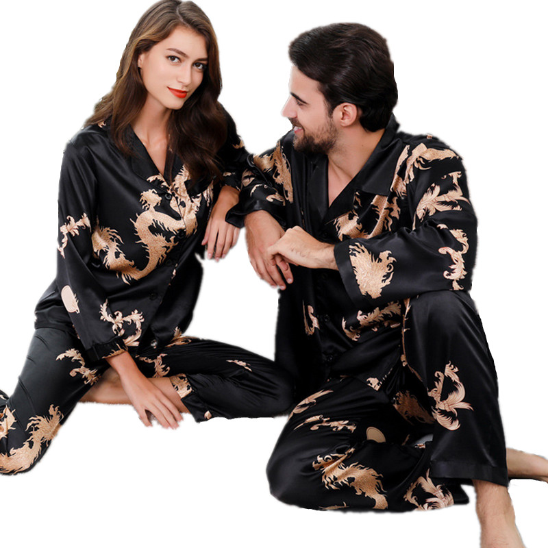 Satin Pyjama Set Long Sleeve Couples Chinese Style Dragon Pattern Two Piece Nightwear Rayon Home Clothes