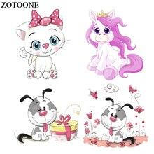ZOTOONE Cartoon Animal Iron-on Transfers Sticker For Kids Clothes Dog Cat Unicorn Patch Heat Transfer Vinyl DIY Thermal Press E