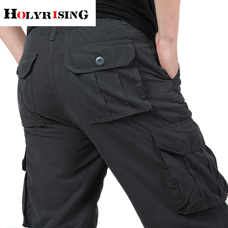 Holyrising Winter plus size  velvet thick casual pants men's trousers multi-pocket overalls cotton loose pants 18740-5