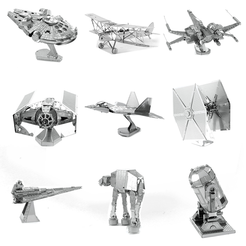 Star Wars All Metal DIY Assembly Building Model 3D Xwing Fighter ATAT Millennium Destroyer Fighter Robot Adult Jigsaw Model Toys