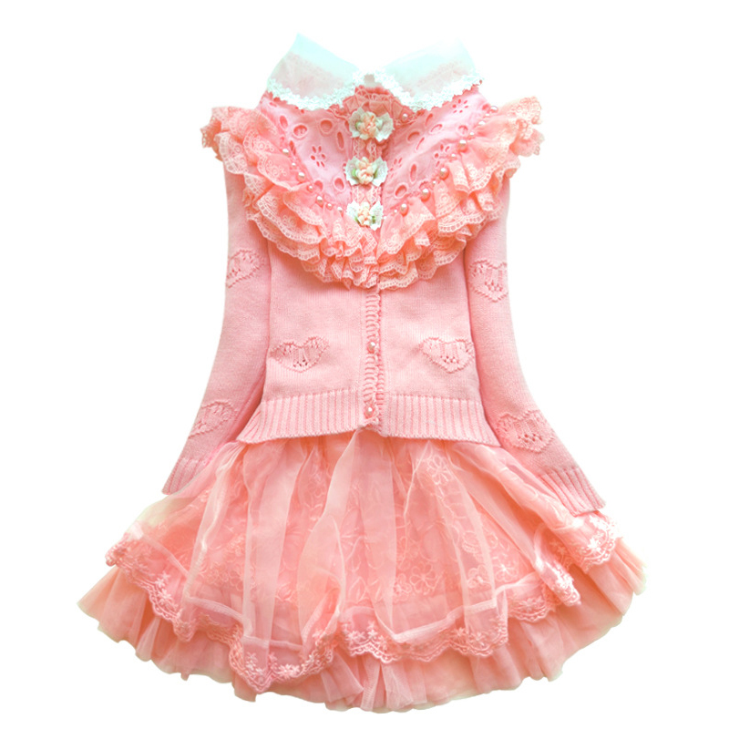 Girls Winter Clothes Set Children Wool Sweater Coat+white Color Cotton Blouses+lace Ball Gown Skirt 3pcs Princess Suit for 3Y-8Y easter sparkle 3rd hot pink white dot top rainbow stripe skirt set 1 8y mamh170