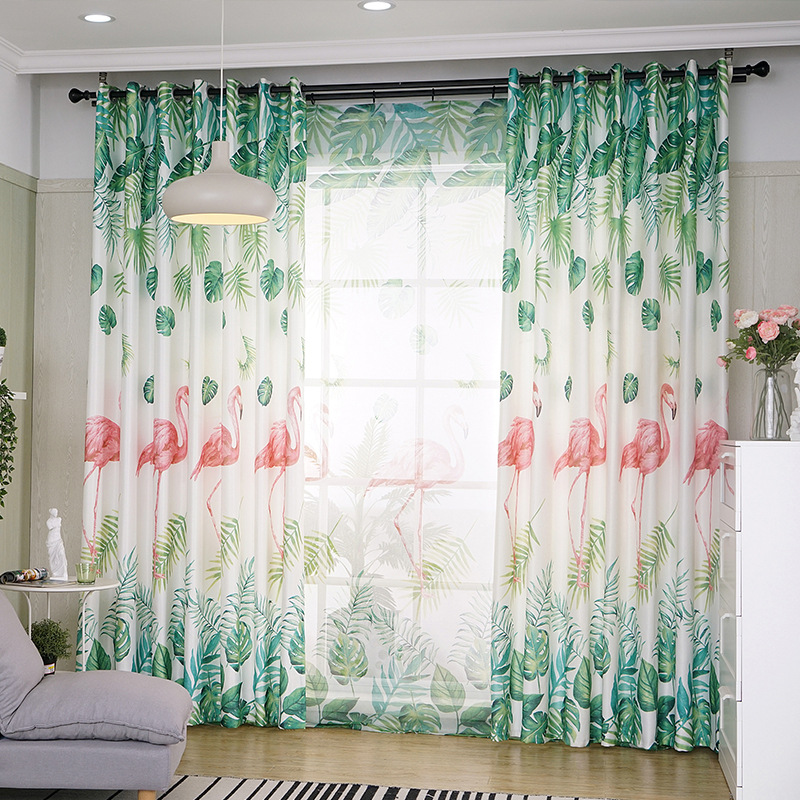 Blast Curtains For Living Room Northern Wind  Palms Ins Window Curtains For Bedroom Shade All 3 D Digital Print