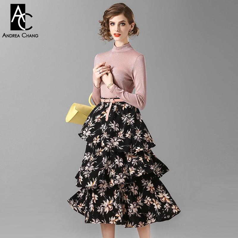 Chandail Beige Noir Ensemble Motif Automne Femme Jupe Rose Cascade Vêtements Imprimer Costume Floral Longueur Veau Blouse Printemps Volants W0ZFwXqXx