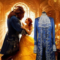 100%real beauty and beast prince mens costume, shirt embroidery vest flower collar embroidery long jacket, can customs size