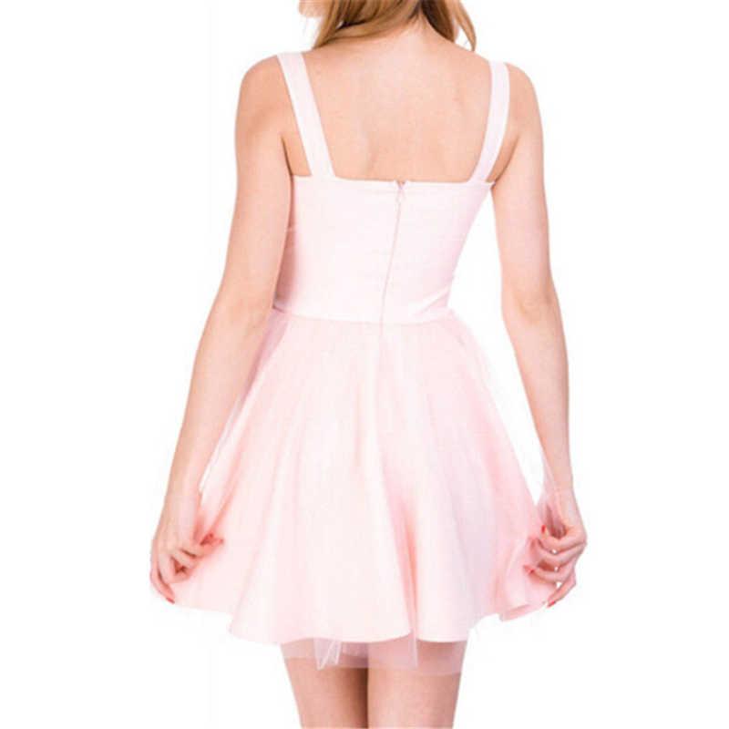2019 Vrouwen Lace Jurk Zwart Roze Mesh Tulle Slim Elegant Lady Princess Bruidsmeisje A-lijn Party Jurken vrouwelijke Vestido