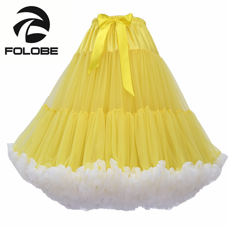 FOLOBE Yellow Knee Length Tulle Tutu font b Skirts b font Vintage font b Womens b