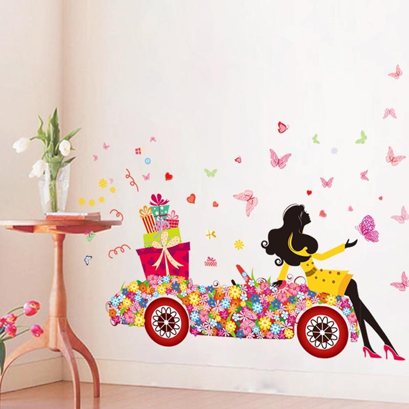 Flower Umbrella Butterfly Girl Wall Sticker Removable Vinyl DIY ...
