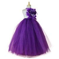 Long Tutu Dress Kid Toddler 2T-12 Teen Purple Tulle White Crochet Top Feather Flower Girl Bridesmaid Birthday Wedding Photo Prop