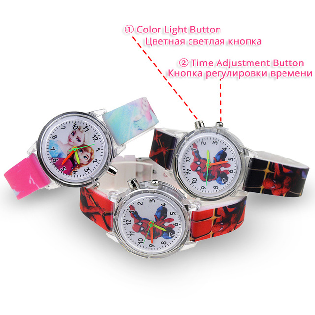 Princess Elsa Children Watches Spiderman Colorful Light Source Boys Watch Girls Kids Party Gift Clock Wrist Relogio Feminino 2