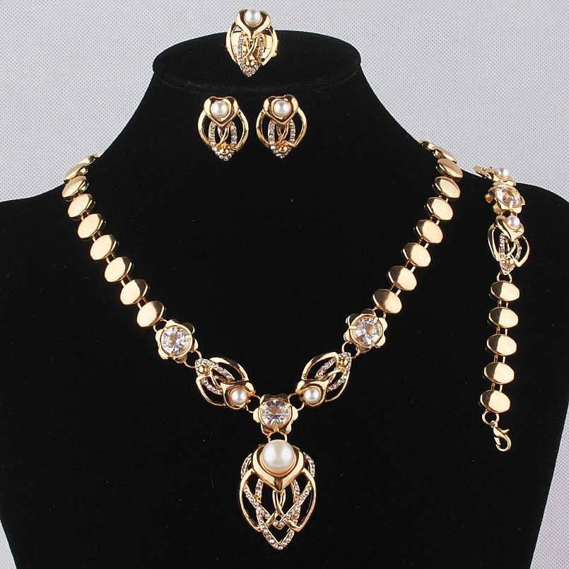 Topkeeping Brand Gold Color Simulated Pearl White Austrian Crystal Collar Necklace Bracelet Earring Ring Jewelry Set
