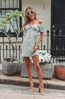 2019 Summer Women Floral Print Boho Dress Sexy High Waist Off Shoulder Casual Dress Bateau Lace Up Bodycon Mini Dress