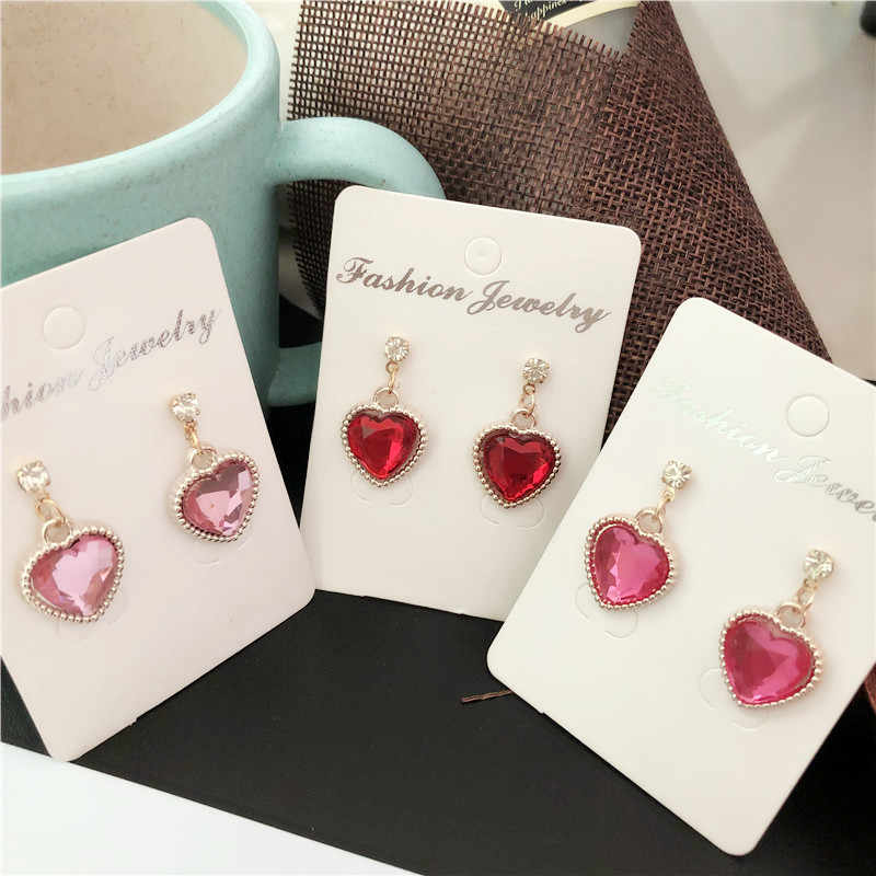 2019 new Fashion red Rhinestone Cute Peach Heart Crystal Pendant earrings For Women Jewelry Bride Wedding Party