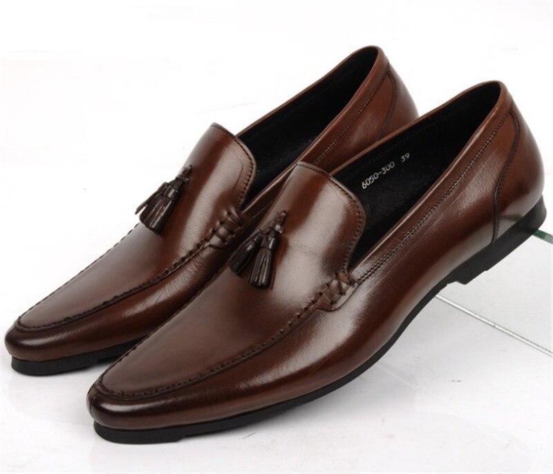Suure suurusega EUR45 pruun tan / must suvine lõngakaitse meeste vabaajajalatsid tõeline nahast väljapoole mokaasin kingad