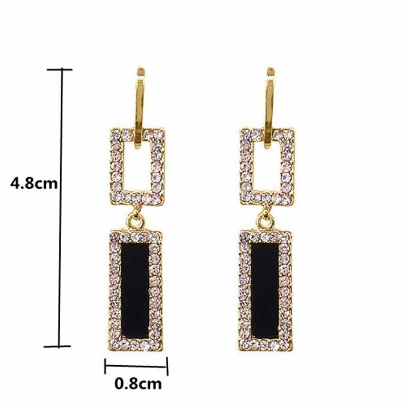 FYUAN 2018 Korean Style Geometric Rhinestone Drop Earrings Long Black Rectangle Dangle Earrings for Women Party Jewelry Gift