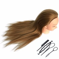 CAMMITEVER Synthetic Hair Hairdressing Equipment Styling Head Doll Mannequin Training Head Tools Braiding Cutting Student