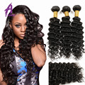 Brazilian Deep Wave With Closure Grade 7A Brazilian Curly Virgin Hair With Closure 3 Bundles Brazilian Virgin Hair With Closure