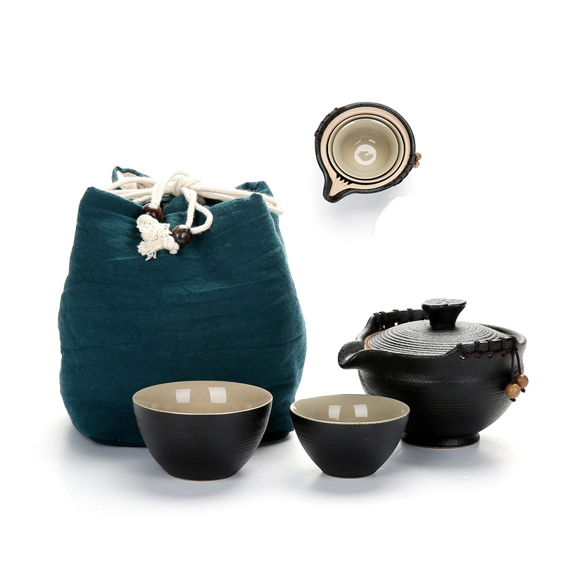 Black Ceramic Tea Pitcher Set 1PC Teapot   2PCS Teacup Storage Bag Portable Travel Teaset For Da Hong Pao Oolong Puer Drinkware
