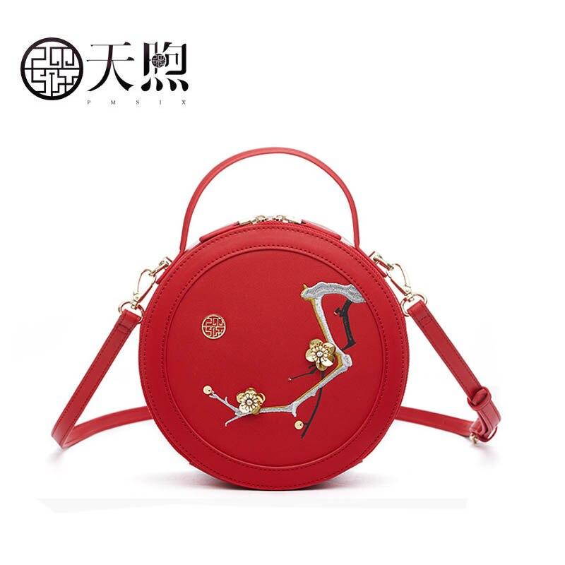 Pmsix 2019 Novas Mulheres bolsa De Couro bolsas de alta qualidade Da Moda bordado saco Rodada Luxo tote pequeno saco de bolsas de couro das mulheres