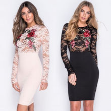 Fashion Women Summer Long Sleeves Lace Evening Party Short Mini Dress Elegant Rose Embroideried Perspective Top Skinny Sundress