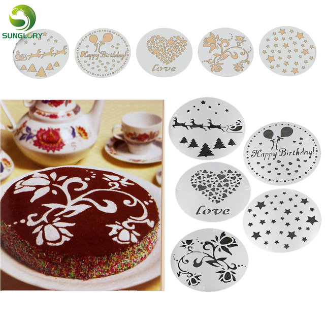 5PCS Flower Cake Stencil Christmas Decoration Fondant Cookie Happy Birthday Template Mold Baking Tools For Cakes