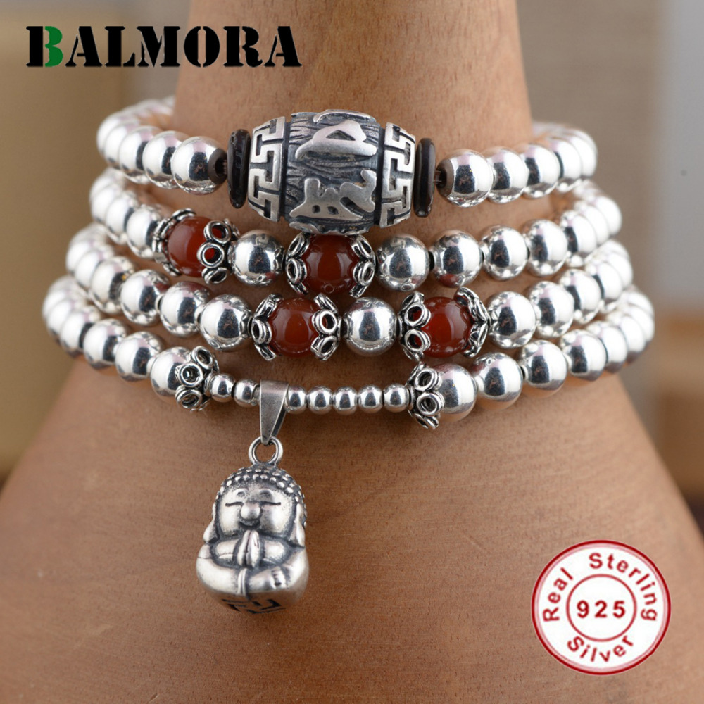 BALMORA Genuine 925 Sterling Silver Jewelry Red & Silver Beads Buddha Bracelets for Women Gifts About 70cm Long Esposas WBH0079