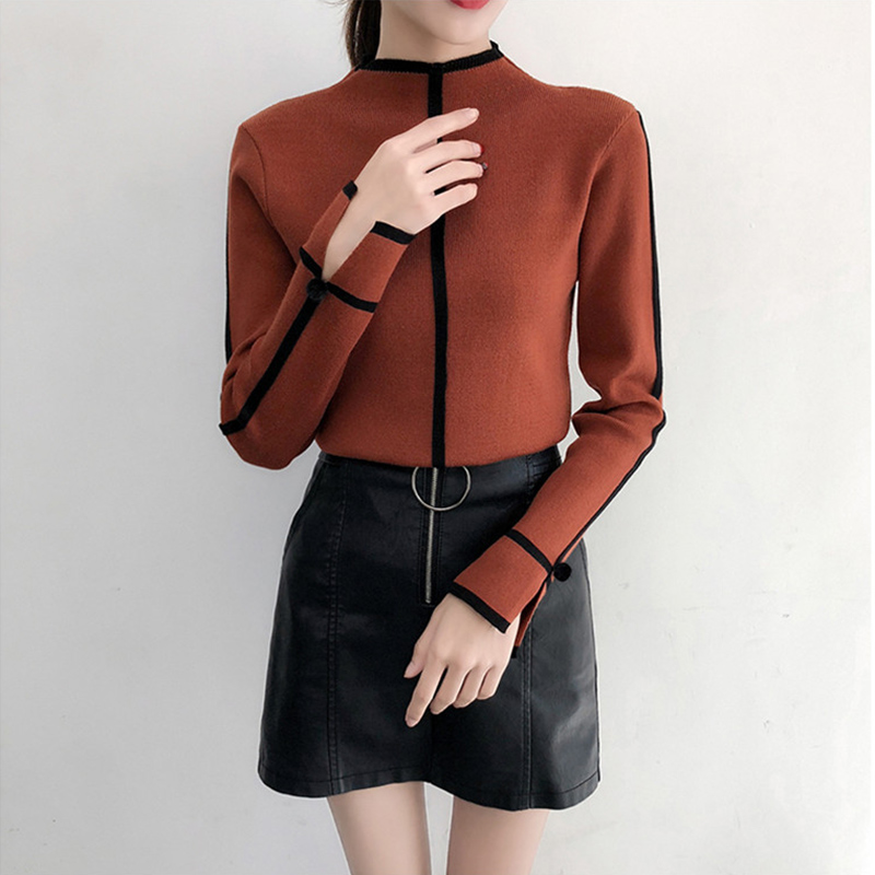 Autumn Winter wear New Pullover Sweater Long-sleeve Womens Bottoming Shirt Womens Half-high collar Warm Sweaters women wear F769(China)