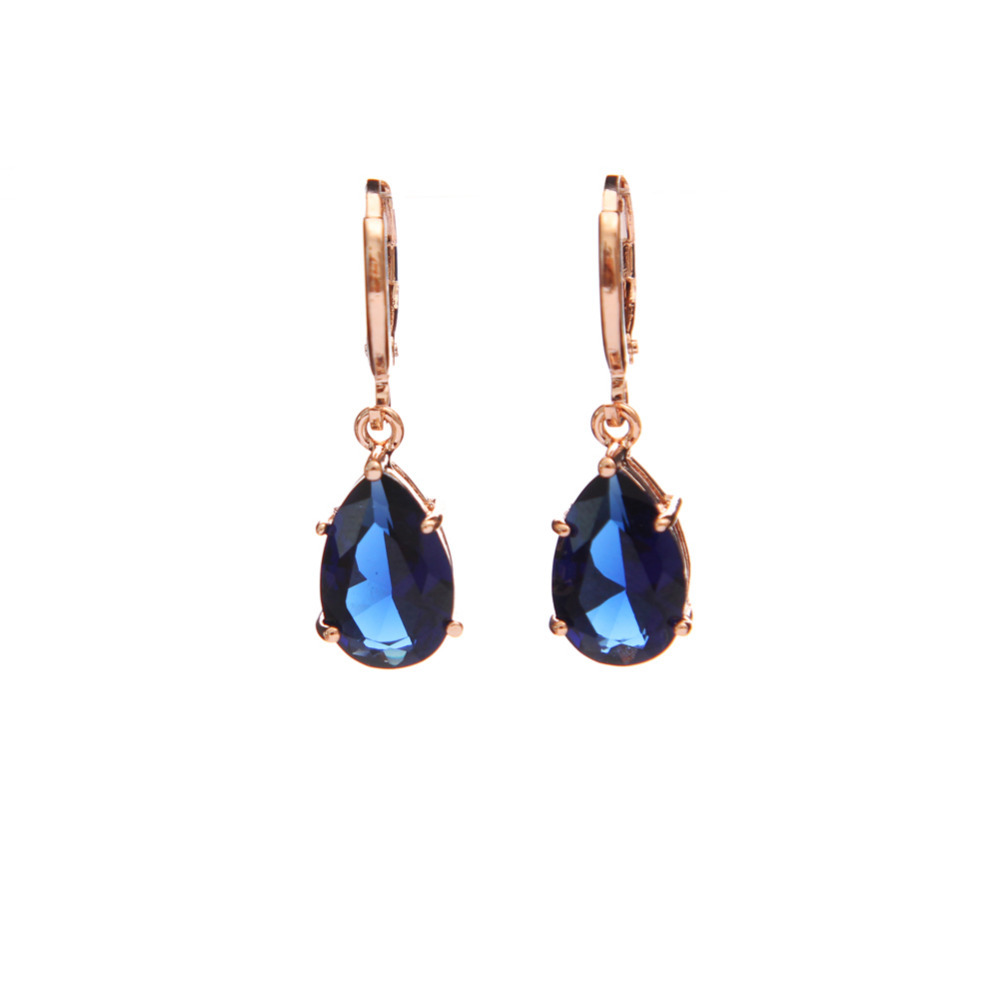 ZOSHI Brand Royal Blue zircon earrings for girls small drop earrings women wholesale gold pated jewelry wedding party gifts
