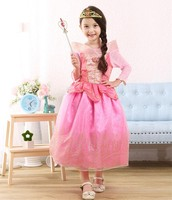 Sleeping Beauty Princess Costume Spring Autumn Girl Dress 2016 Pink Princess Aurora Dresses For Girls
