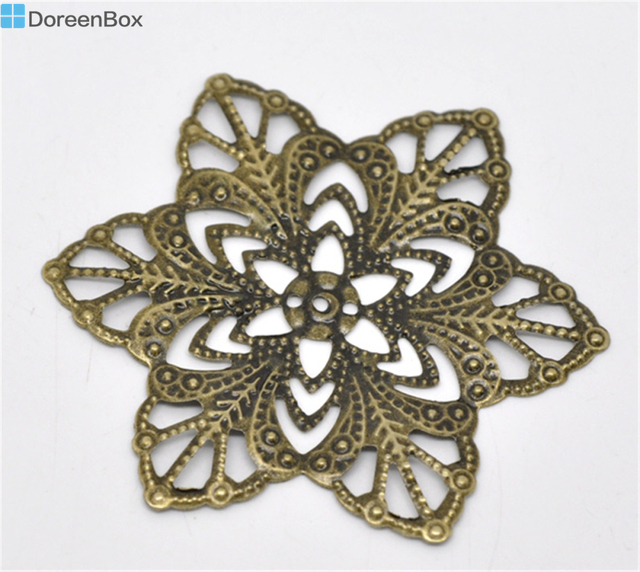 Doreen Box Lovely 30 Bronze Tone Filigree Flower Wraps Connectors 57mm (B14283)