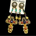 Fashion baroque palace vintage luxury colorful gem rhinestone cross drop earrings for women metal carved pearl earrings jewelry