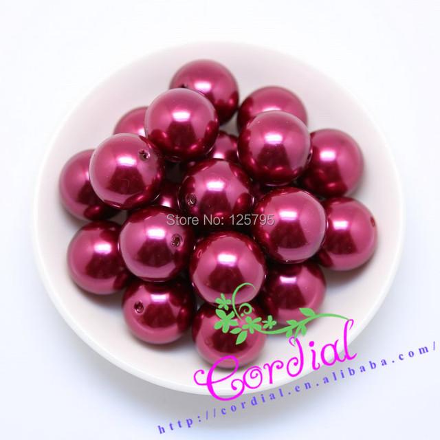 Envío gratis! ( A43 ) 20 mm Color rojo vino de acrílico perla Beads Beads Chunky Gumball 110 unids/lote