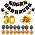 Золотистый и черный латекс номер воздушные шары-гирлянды 30 40 50 60 70 С Днем Рождения украшения для вечеринок своими руками для взрослых на день рождения партия поставок пользу - фото