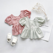 Summer Childrens Clothing Princess Baby Girls Plaid Blouse Tops Cute Puff Short Sleeve Toddler Girl Blouses Shirts