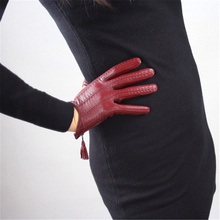 Women Genuine Leather Imported Goatskin Tassel Zipper Short Wine Red Female Touch Screen Gloves TBLS03