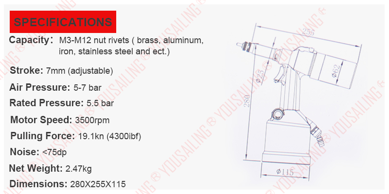 Tools : High Quality M3-M12 Automatic Air Rivet Nuts Tool Pneumatic Nut Riveter  Nut Riveter Gun